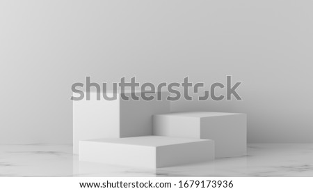 Minimal luxury white design Square rectangle box block cube podium in white Marble concrete wall background. concept display scene stage platform showcase, product, sale, banner, cosmetic. 3D render