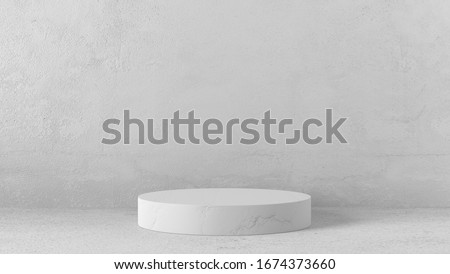 Minimal luxury white marble design Cylinder circle box podium in white concrete wall background. concept display scene stage platform showcase, product, sale, banner, presentation, cosmetic. 3D render