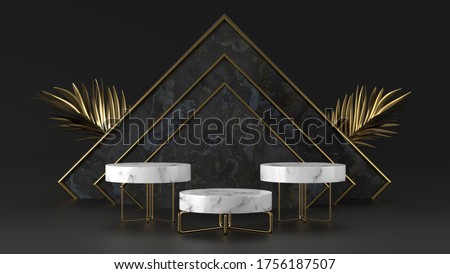 Minimal luxury white Marble podium and golden leaves in black background concept display scene stage platform showcase product sale banner presentation cosmetic 3D render