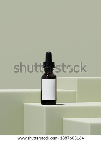 Minimal mockup background for product presentation. Green podium on green background. 3d rendering illustration. Clipping path of each element included. ストックフォト ©