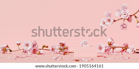 Minimal mockup background for product presentation. Pink podium and cherry blossom flower on pink background. Clipping path of each element included. 3d rendering illustration. ストックフォト ©