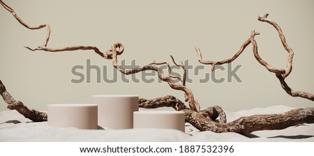Minimal mockup background for product presentation. Podium and dry tree twigs on white sand beach. 3d rendering illustration. Clipping path of each element included. ストックフォト ©