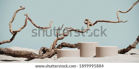 Minimal mockup background for product presentation. Podium and dry tree twigs with sand beach on blue background. 3d rendering illustration. Clipping path of each element included.