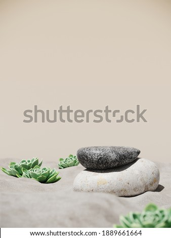 Minimal mockup background for product presentation. Stone podium and green echeveria succulent plant on sand beach. 3d rendering illustration. Clipping path of each element included.