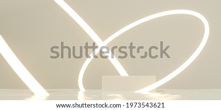 Minimal mockup concept for product presentation. White podium and glowing round portal on white background. Clipping path of each element included. 3d rendering illustration.