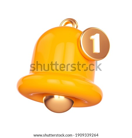 Minimal Notification bell icon isolated on white background. one new notification concept. Social Media element. 3d rendering Stock photo ©