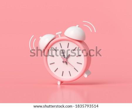 Minimal Pink alarm clock on pink background. 3D render illustration