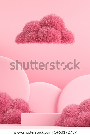 Minimal pink fur ball for winter background concept. Pink podium on pink background. Cafe poster templates mock up. 3d render illustration.