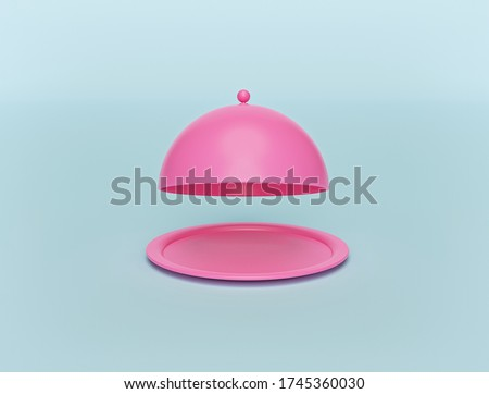 minimal pink opened restaurant cloche isolated on pastel blue background. Food serving tray. lunch time concept. 3d rendering Photo stock ©