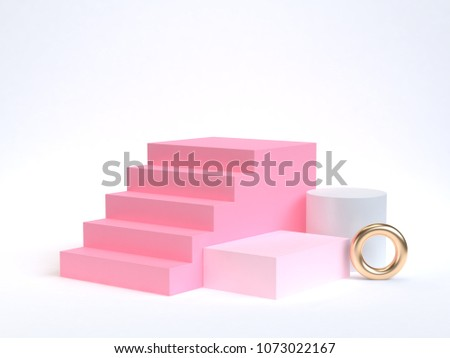 minimal pink staircase-stairway 3d rendering and geometric shape