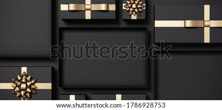 Minimal product background for Black Friday sale event concept. Black gift box and gold ribbon on black background. 3d render illustration. Clipping path of each element included.