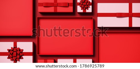 Minimal product background for Christmas, New year and sale event concept. Red and pink gift box on red background. 3d render illustration. Clipping path of each element included.