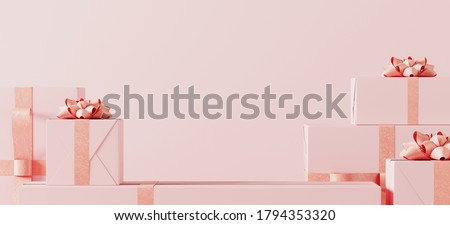 Minimal product background for Christmas, New year,Valentine concept. Pink gift box with pink ribbon bow on pink background. 3d render illustration. Clipping path of each element included.