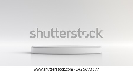 Minimal product stand on background. Cylinder Shape podium for presentations in white studio. 3D render.
