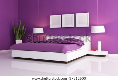 minimal purple bedroom with white  double bed