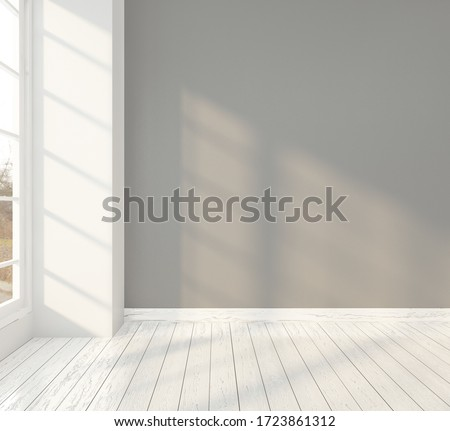 Minimal room with gray wall. 3D rendering