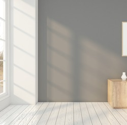 Minimal room with sideboard , white wall. 3D rendering