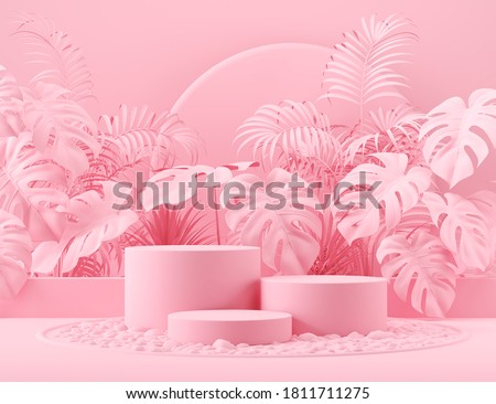 minimal scene with geometric podium display for cosmetic product Showcase, 3d rendering. stock photo