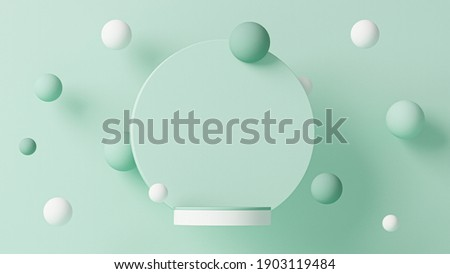 Minimal scene with levitating balls, podium and abstract background. Pastel blue and white colors scene. Trendy 3d render for social media banners, promotion, cosmetic product show. Geometric shapes stock photo
