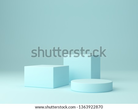 Minimal scene with podium and abstract background. Geometric shape. Blue pastel colors scene. Minimal 3d rendering. Scene with geometrical forms and blue background. 3d render.