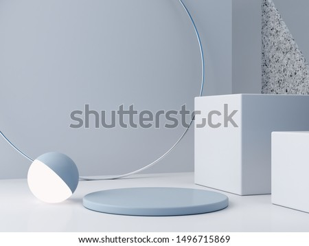 Minimal scene with podium and abstract background. Geometric shapes. Blue colors scene. Minimal 3d rendering. Scene with geometrical forms and textured background for cosmetic product. 3d render.