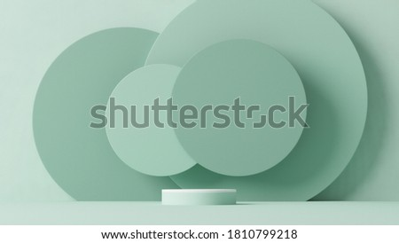 Minimal scene with podium and abstract background. Pastel blue and white colors scene. Trendy 3d render for social media banners, promotion, cosmetic product show. Geometric shapes interior. Photo stock ©