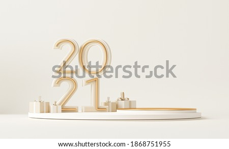Minimal scene with podium, gift box and pastel background. Concept of Happy New Year 2021. 3D numbers 2021 and letter text, poster, banner, cover card, brochure, studio, mockup. 3d render