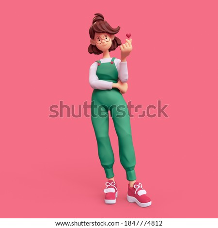 Minimal smiling positive casual brunette girl in glasses wearing green apron, white t-shirt, red sneakers stands makes korean love sign, finger heart gesture. I Love You. 3d render on pink backdrop.