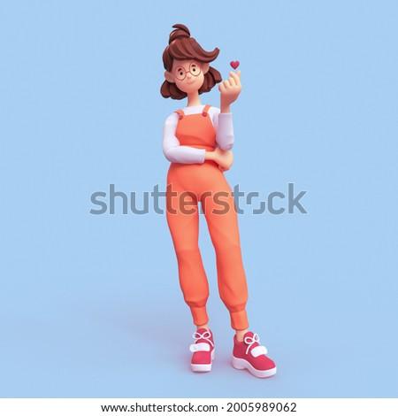 Minimal smiling positive casual brunette girl in glasses wearing orange apron, white t-shirt, red sneakers stands makes korean love sign, finger heart gesture. I Love You. 3d render on blue backdrop.