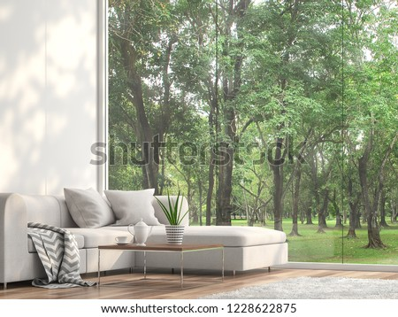 Minimal sofa located at the window 3d render.The Rooms have wooden floors and white wall.furnished with white fabric furniture.There are large frameless window looking out to see the garden view.