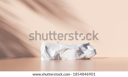 Minimal stone podium with warm pastel color for packaging, branding and cosmetic presentation,  Product display with natural sunshade and shadow on background. realistic rendering. 3d illustration.