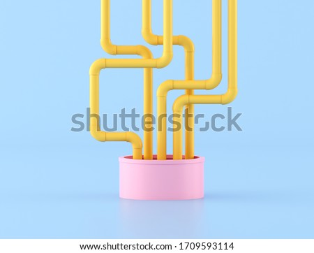 Minimal style of messy yellow water pipes come out from pink pipe. 3D rendering.