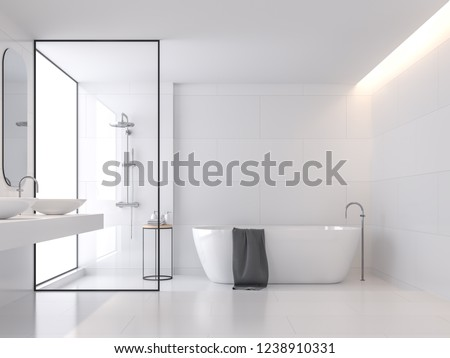 Minimal style white bathroom 3d render, There are large white tile wall and floor .There have glass partition for shower zone,The room has large windows.Natural light transmitted through the room. Photo stock ©