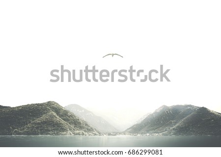 minimal surreal mountain landscape