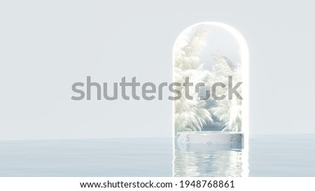 Minimal white arch background with marble podium on the water among the glass sphere bubbles for product and cosmetic presentation. The classic decorated wall. realistic rendering 3D illustration.