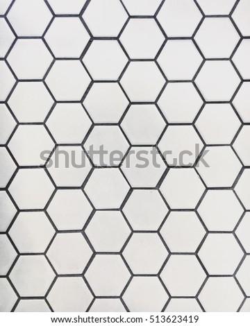 Minimal White Geometric Hexagonal Mosaic Tile Pattern Texture #513623419