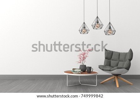 Minimal. White living room interior with black fabric armchair, cabinet, coffee cup and plants on empty white wall background.3d rendering.
