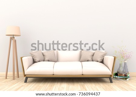 Minimal. White Living Room Interior With White Fabric Sofa, Lamp, Cabinet  And Plants