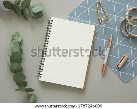 Minimal woman's works desk mockup. Opened spiral notebook with copy space, gold stationery and eucalyptus branch. Flat lay Foto d'archivio ©