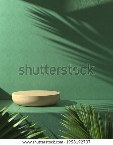 Minimal Wooden Podium Display Nature Concept With Sunlight Shadow Palm Leaf On Green Concrete Wall Abstract Background 3d Render