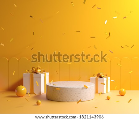 Minimal Yellow Concept Mockup Stone Podium With Gift Box And Ribbon Falling Background 3d Render