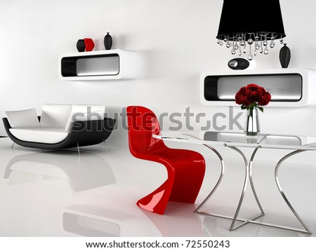 Minimalism And Baroque Furniture In Interior. Modern Sofa, Red ...