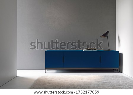 Minimalism interior with gray wall, blue dresser and decor. 3d render illustration mock up. Stockfoto ©