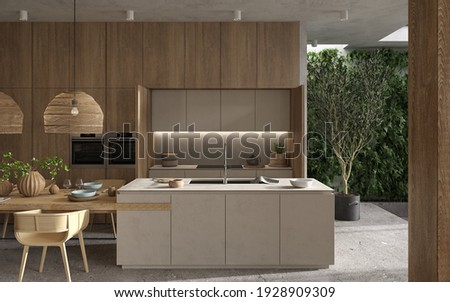 Minimalism modern interior  scandinavian design. Bright studio living, kitchen and dining room. Wooden kitchen with kitchen island, green plants and table with dishes. 3d render. 3d illustration.