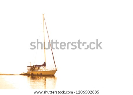 Minimalist abstract of unidentifiable man and woman in sailboat motoring with a dinghy in tow on a mostly white background, with digital painting effect, for coastal, maritime, and travel themes