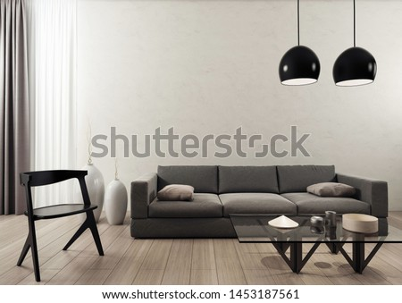Minimalist and elegant living room. 3D illustration