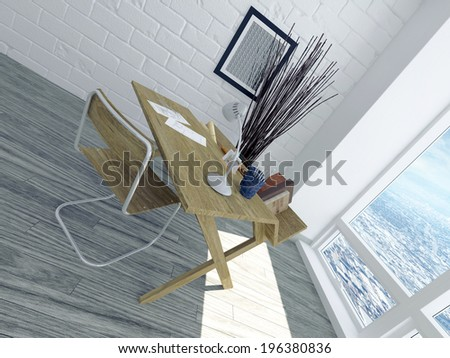 Minimalist apartment office interior with a single desk facing a view window on a parquet floor with a white painted brick wall