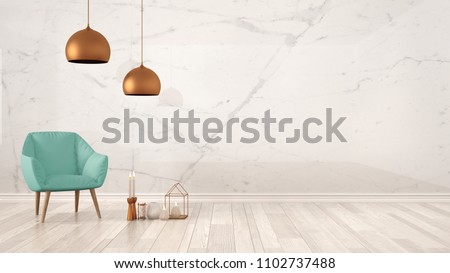 Minimalist architect designer concept background with marble wall, turquoise armchair, candles and decor on parquet flooring, living room interior design with copy space, 3d illustration
