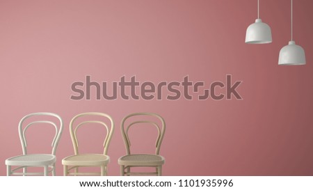 Minimalist architect designer concept with three classic wooden chairs and pendant lamps on pink background, living room interior design with copy space, 3d illustration #1101935996