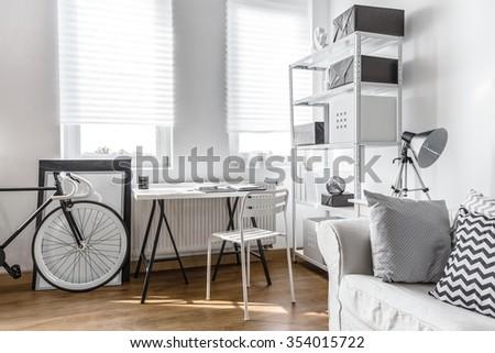 Minimalist arrangement for black and white studio flat